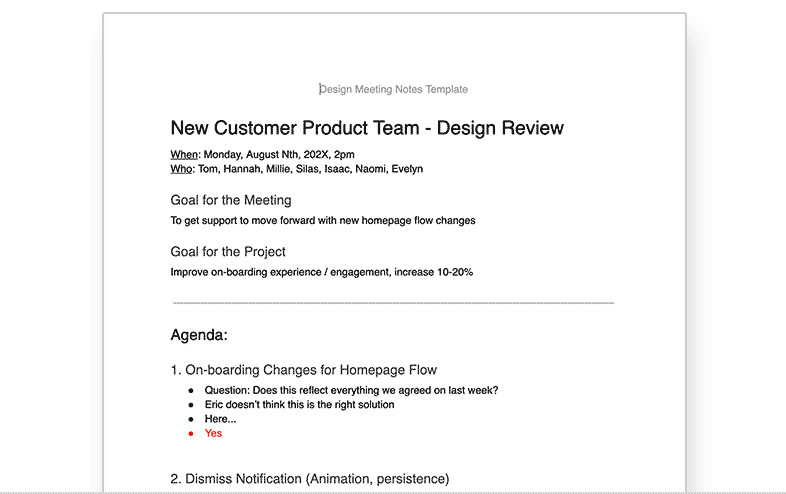 Design Meetings Template