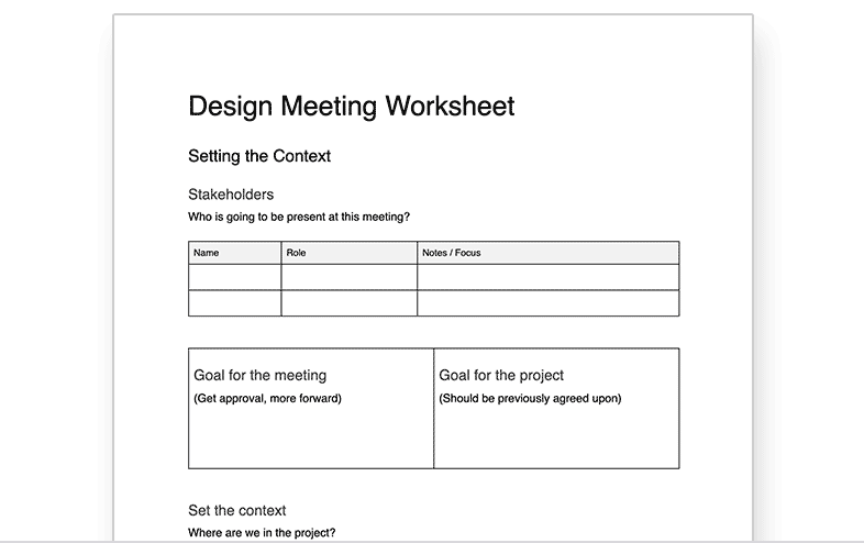 Design Meetings Worksheet