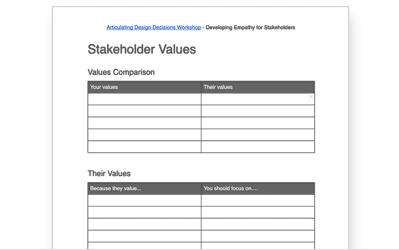 Stakeholder Values Worksheet